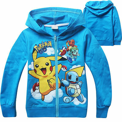 POKEMON Kids Boys Girls Pikachu Squirtle Hoodies Sweatshirts Tops T Shirt Coat