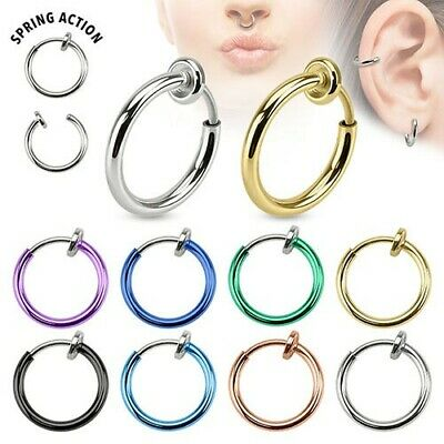 1 Nasenpiercing Fake Septum Piercing Ohr Spring Ring Ohrclip Helix Creole neu