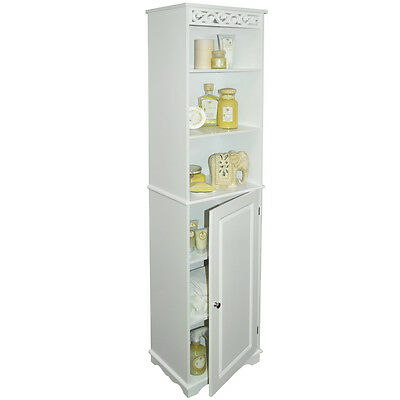 Floor Standing Tall Bathroom Storage Cupboard with Shelves - White BA8210