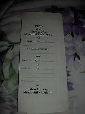 3 Glen Haven Memorial Gardens Cemetery Grave Plots Victory Grd New Carlisle Ohio