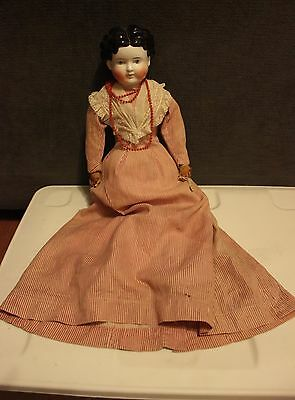 """Antique Black Molded Hair China Head Doll 22"""" Rosy Cheeks Cloth Hands & Body OLD"""