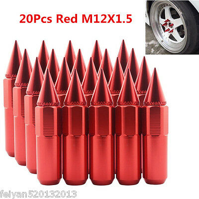 20Pcs Red M12X1.5 Spiked Extended 60mm Aluminum Tuner Racing Wheel/Rims Lug Nuts