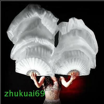 Belly dance 100%silk fan veil white 1 pair of left and right hand 1.5m 1.8m long
