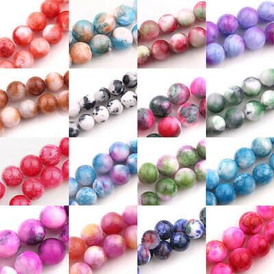Wholesale Mottle Glass Marble Effect Round Beads Europ Jewelry Making 6/8/10mm