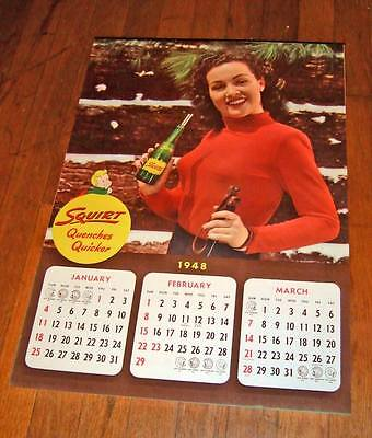 1948 Squirt wall calendar~complete 4 sheets~unused/exc.cond.