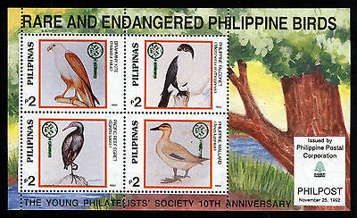 PHILIPPINES 1992 Endangered Birds MiniSheet MNH