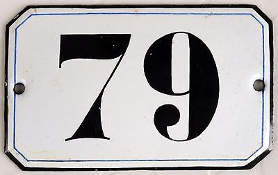 Old French black white house number 79 door gate plate plaque enamel steel sign