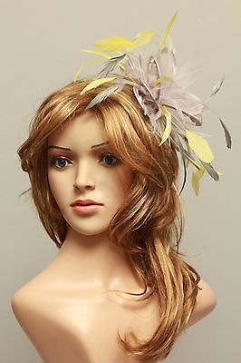Silver & Yellow Fascinator Hat / Choose any satin/highlight feather colour