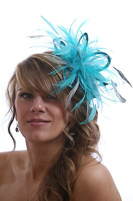 Turquoise Blue & Silver Fascinator Hat/Choose any satin/highlight feather colour