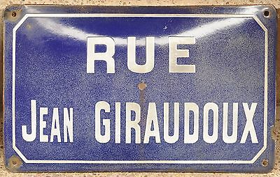 Old French enamel steel street sign road plaque name Rue Jean Giraudoux writer