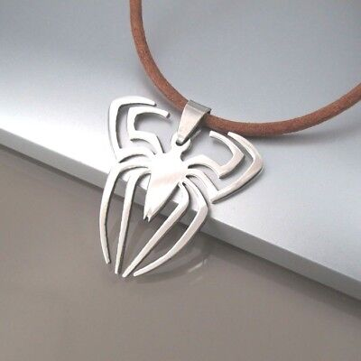 Silver Stainless Spiderman Symbol Spider Pendant Brown Leather Surfer Necklace