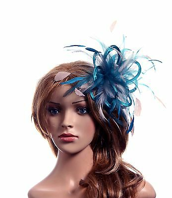 Teal Blue & Taupe Nude Fascinator Hat/Choose any satin/highlight feather colour