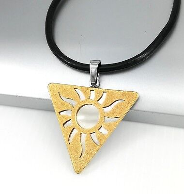 Silver Gold Egypt Egyptian Sun Stainless Steel Pendant Black Leather Necklace