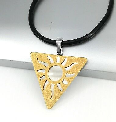 Silver Gold Stainless Triangle Egypt Sun Pendant Black Leather Tribal Necklace