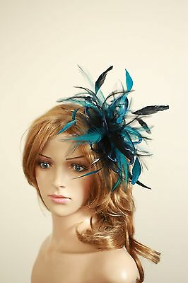 Navy Blue & Teal Fascinator Hat/ any satin/highlight feather colour