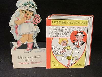 Marry a Girl Who Loves to Wash Dishes & I'd be a Sweet Bride 2 Vintage Cards