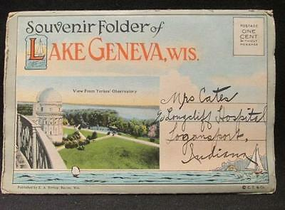 Lake Geneva Wis Vintage Postcard Folder EA Bishop Curt Teich Co