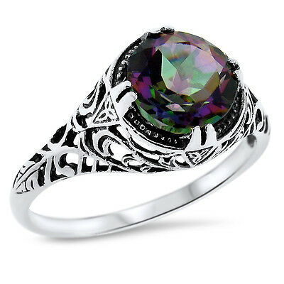 2 Ct Hydro Mystic Quartz Antique Design 925 Sterling Silver Ring Size 4.75,#635