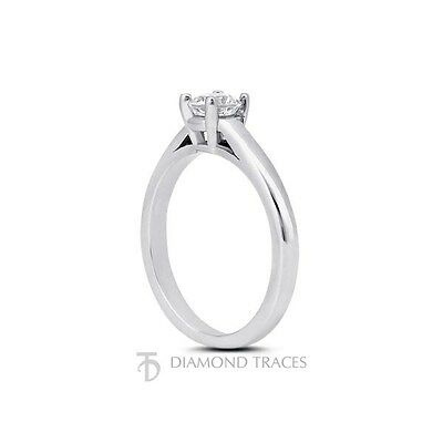0.49ct H-SI2 VG Round Certified Diamond 18k Gold Cathedral Solitaire Ring 2.5mm