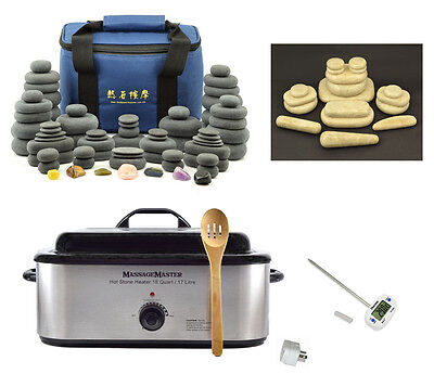 HOT/COLD STONE MASSAGE KIT: 88 Basalt, Marble & Chakra Stones + 18 Quart Heater