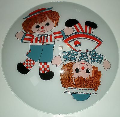 Light Fixture Ceiling Decoration Raggedy Ann Andy Doll Reverse Painted Vintage