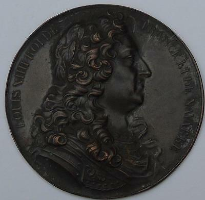 French Bronze Cliche / Uniface Medal Louis XIIII Roi De France 48mm, nice item
