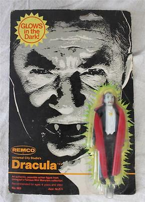 """ATH26027 Vintage REMCO Glow in the Dark Dracula 1980 4"""" Figure on Card"""