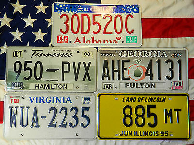 LOT OF 5 license licence plate plates USA NUMBER AMERICAN REGISTRATION