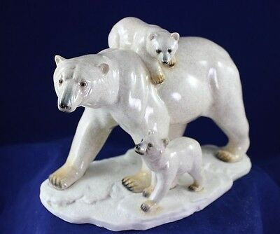 """Mother Polar Bear """"Yukon"""" w Twin Cubs - Made to Look Like Hand Carved Stone"""