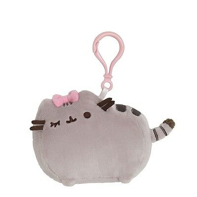 Pusheen Backpack Clip - Pusheen with Pink Bow Grey Cat