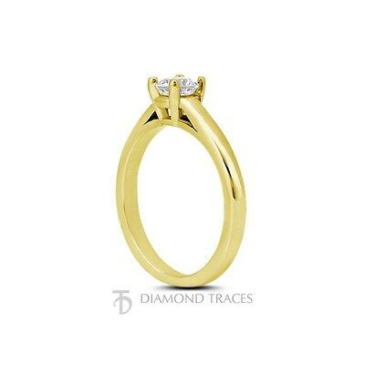 0.44ct G-SI2 Ideal Round Certified Diamond 14k Gold Basket Solitaire Ring 2.5mm