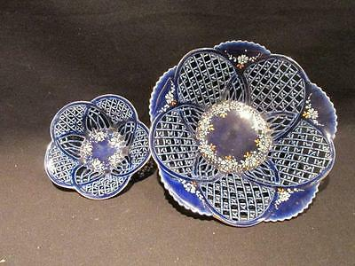 Sumi Hand Painted 2 Dainty Cobalt Lattice Bowls Artist Signed Romania Bohemia