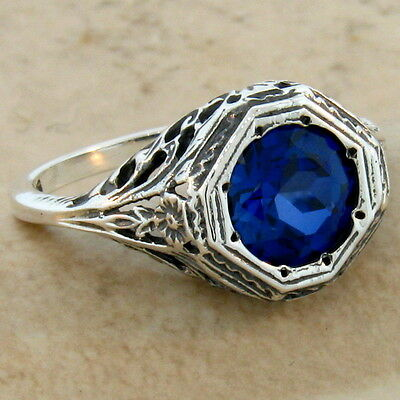 2 Ct. Lab Sapphire Antique Art Deco Style .925 Sterling Silver Ring Size 6,  #72