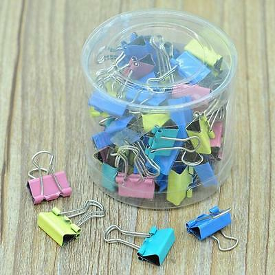 60x Metal Paper File Ticket Binder Clips 15mm Office School Supply Clip Colorful