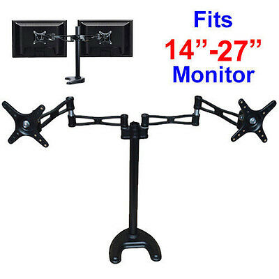 "Dual 14""-27"" LCD Monitor Stand/Mount - 2 Arms Hold 2 LCD Screens"