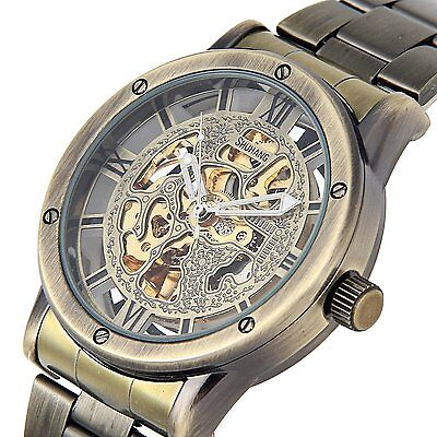 Mens Automatic Mechanical Watch Steampunk Skeleton Dial Bronze Tone Steel Band