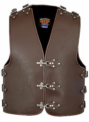 Heavy Duty 3MM Thick A Grade Metal Buckle Motorcycle Club Leather Vest BROWN