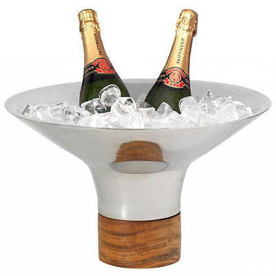 Beaumont Signature Secchio Wine / Champagne Cooler Bowl - Stainless Steel & Wood