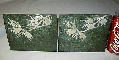 Antique Heintz Arts & Crafts Mission Bronze Sterling Silver Spruce Tree Bookends