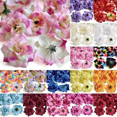 50pcs Artificial Silk Rose Flower Heads Bulk 50mm Bridal Wedding Party Decor DIY