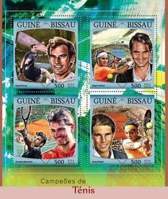 Guinea-Bissau - 2016 Tennis Champions - 4 Stamp Sheet - GB16410a