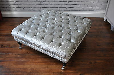 Large Handmade Buttoned Ottomans Footstool Crushed Velvet Grey Silver