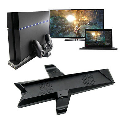 Vertical Stand Cooler Fan Cooling pad + 2 USB Charging Station Dock For Sony PS4