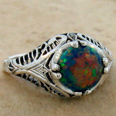 Black Lab  Opal 925 Sterling Silver Antique Filigree Style Ring Sz 6.75,#706