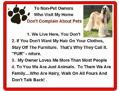 Funny Dog  Afghan Hound House Rules Refrigerator Magnet Gift Card Insert