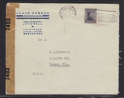 Uruguay 1943 Wwii Censored Cover Montevideo To Tampa Florida Usa