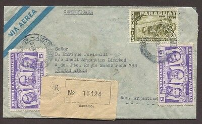 Paraguay 1956 Registered Airmail Cover Asuncion To Buenos Aires Argentina