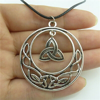 """89491 17"""" Leather Chain Alloy Silver Filigree Celtic Knot Pendant Necklace"""