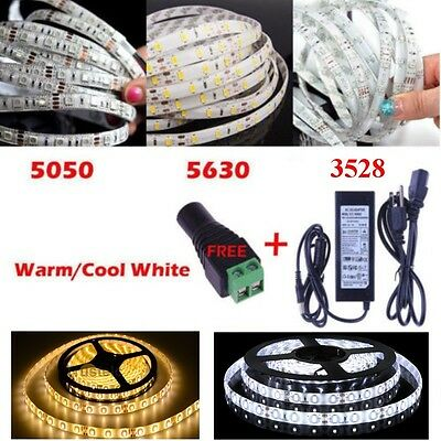 5M 300Led 3528 5050 5630 SMD White LED Flexible Strip Light Adapter Power Supply