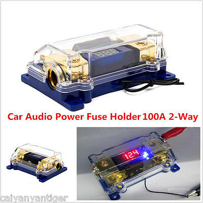 100A 2-Way Car Audio Fuse Holder Fuseholder Inline Block Battery Install Kit LED